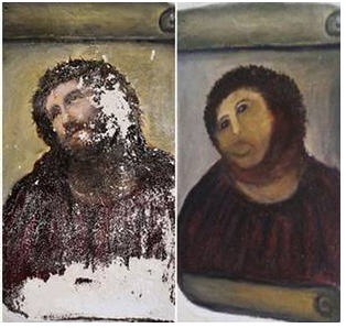 """Ecce Homo - Nicknamed """"Ecce Mono"""" after botched restoration attempt. Photo from The Independent."""
