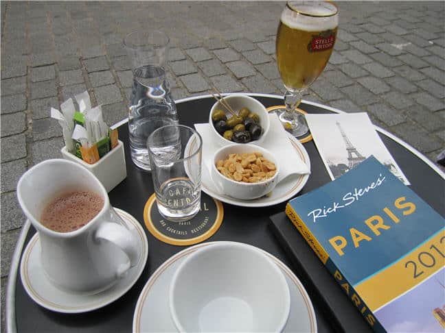 Paris - Rick Steves guidebook at Cafe Central