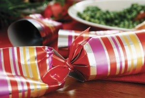 Holiday stress no more! - Party Favor on Dinner Table --- Image by © Royalty-Free/Corbis